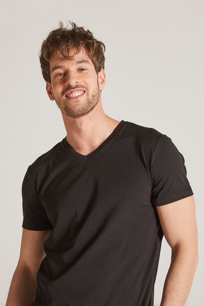 Men Black V Neck Tshirt - Thumbnail