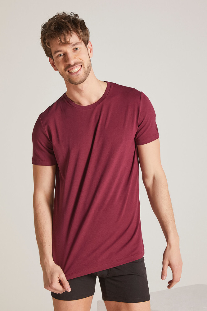 Men Claret Red Crew Neck Tshirt - Thumbnail