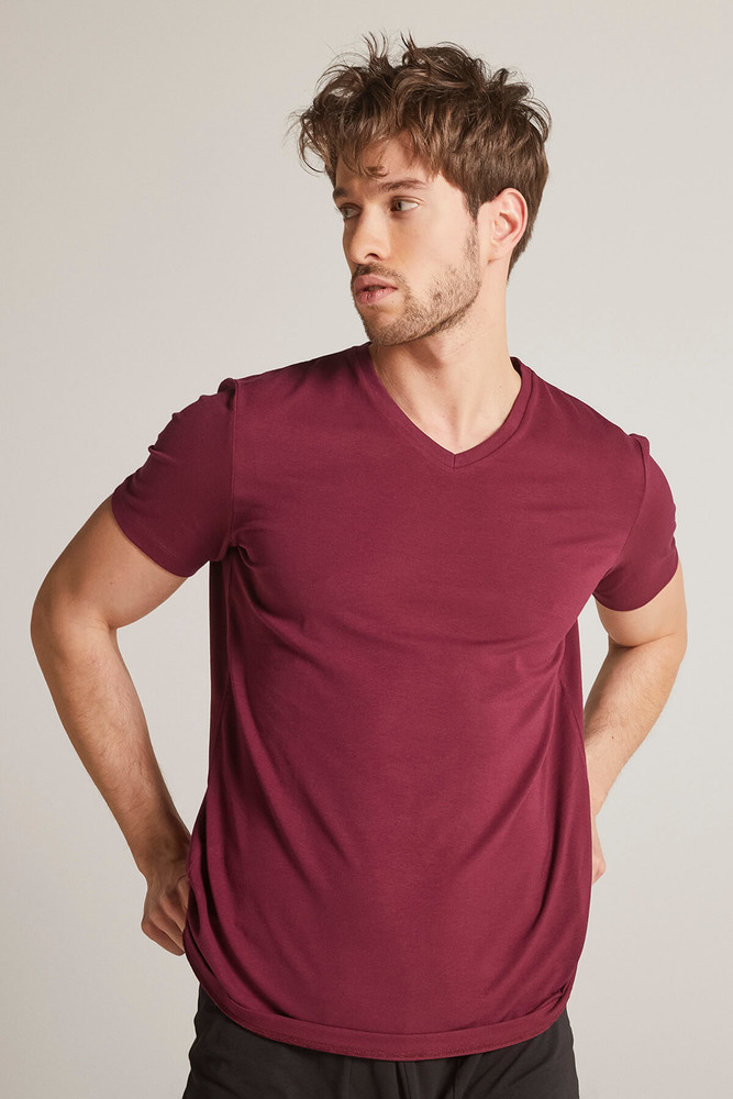 Men Claret Red V Neck Tshirt - Thumbnail