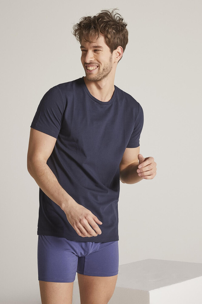 Men Navy Crew Neck Tshirt - Thumbnail