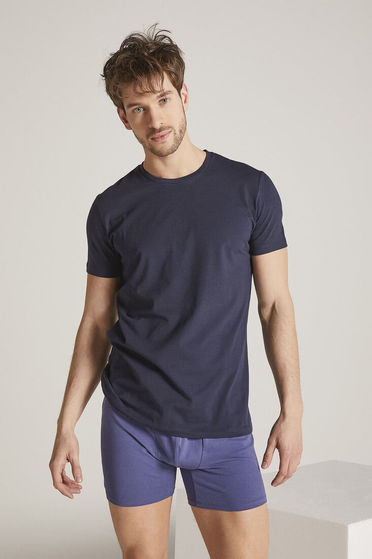 Men Navy Crew Neck Tshirt