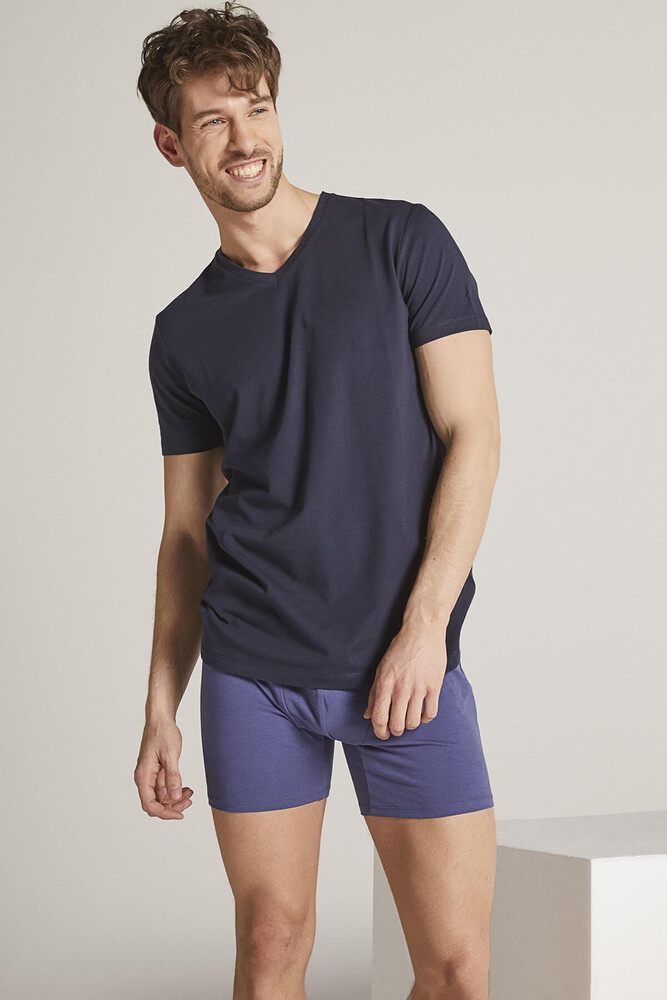 Men Navy V Neck Tshirt - Thumbnail