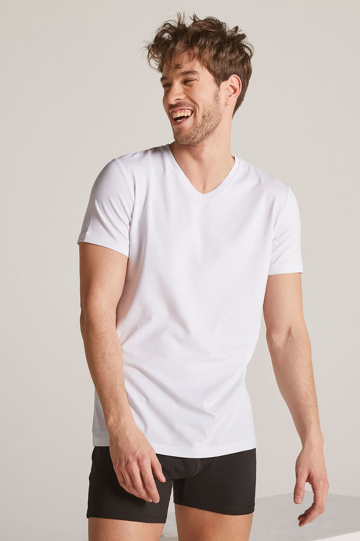Men White V Neck Tshirt
