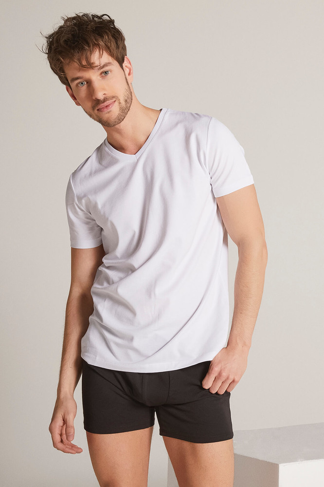 Men White V Neck Tshirt - Thumbnail