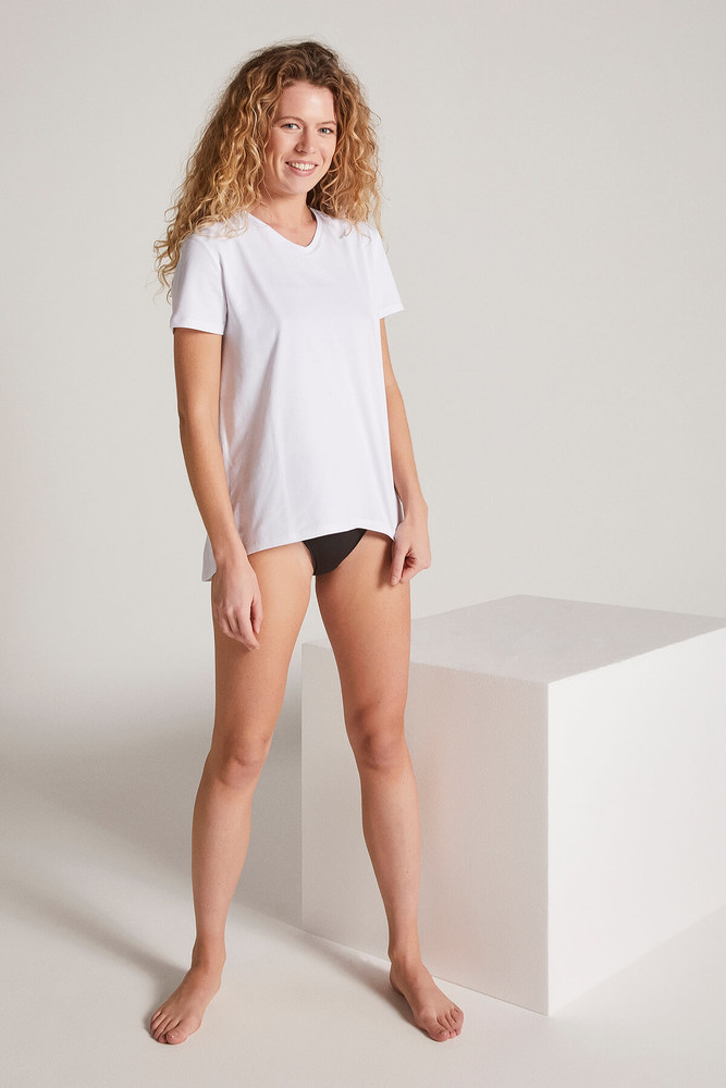 Women White V Neck Tshirt - Thumbnail